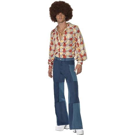NET TOYS Costume uomo hippie anni 70 taglia pantaloni discoteca retro star