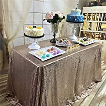 5ft x 8ft Sparkly Royal Rose Gold Square Sequins Wedding Tablecloth, Sparkly Table cloth for Wedding, Event