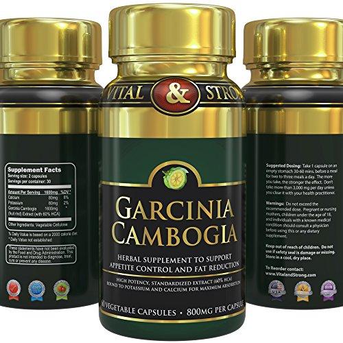 # 1 Garcinia Cambogia Extrait ★ 1600 mg (seulement 2 capsules / jour) ★ Supplément pur inhibiteur de l'appétit et perte de poids 100% naturel efficace OGM Gratuit - 60 Vegetarian Capsules