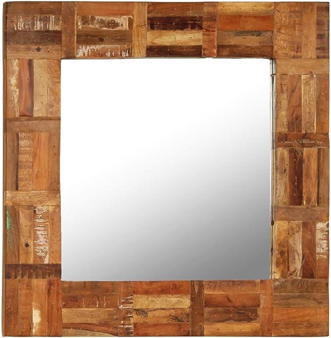 ROMELAREU Espejo de Pared Madera Maciza de traviesas del Tren 60x60 cmCasa y jardín Decoración Espejos: Amazon.es: Hogar