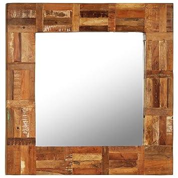vidaXL Espejo Pared Madera Maciza 60x60cm Mueble Decoración ...