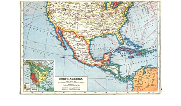 Amazon.com: NORTH AMERICA. Southern United States & Mexico ; inset ...