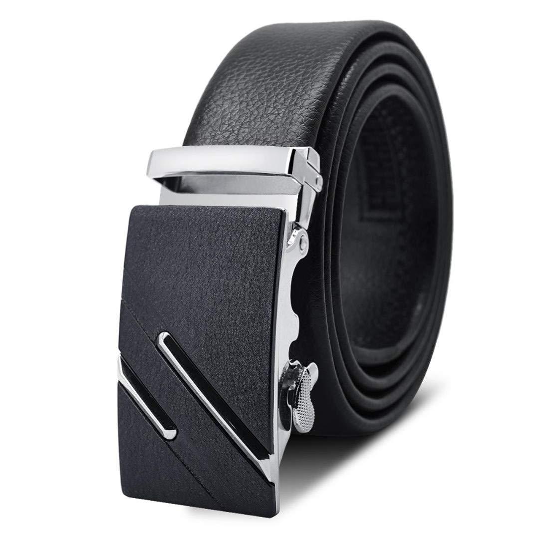 JUIHUGN Famous Black Belt Men t Genuine Luxury Leather Belts for Men,Strap Male Metal Automatic Buckle AC040A1007-2 120cm