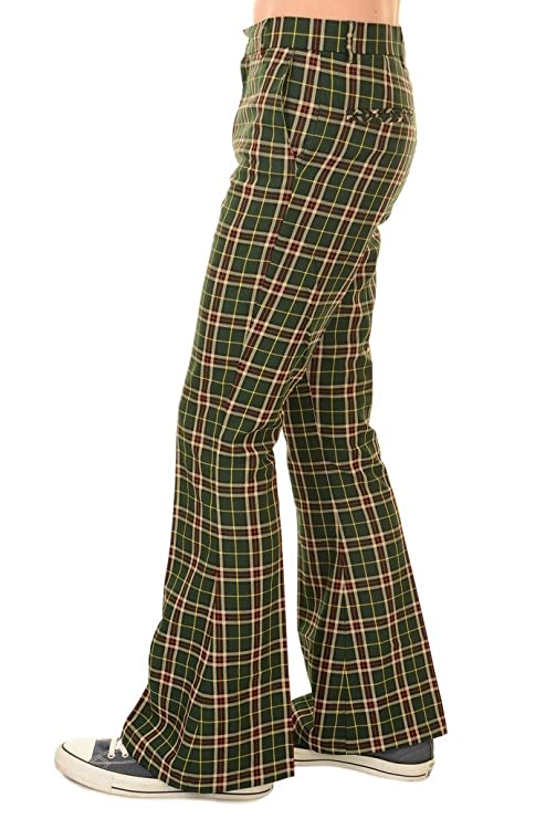 70s Costumes: Disco Costumes, Hippie Outfits Run & Fly Mens 60s 70s Vintage Retro Green Tartan Plaid Bell Bottom Trouser $47.95 AT vintagedancer.com