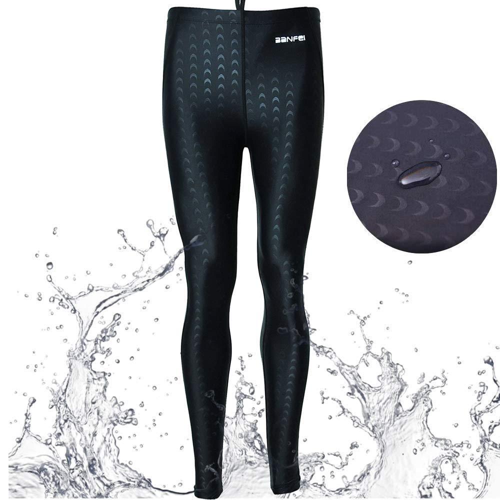Mens Waterproof Swim Legging Dry Fast Stretchy Base Layer Sun Protection Rash Guard Pants for Scuba Canoeing Fishing Black L2 (Black, US XXL(Waist:44-48''/Height:70-74'') by VANPIE