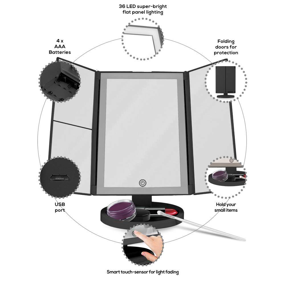 sezioni di ingrandimento tripla 1x 2x 3x Beautyworks Specchietto da trucco retroilluminato con 36 luci a LED controllo della luce touch-screen specchio portatile a specchio ad alta definizione