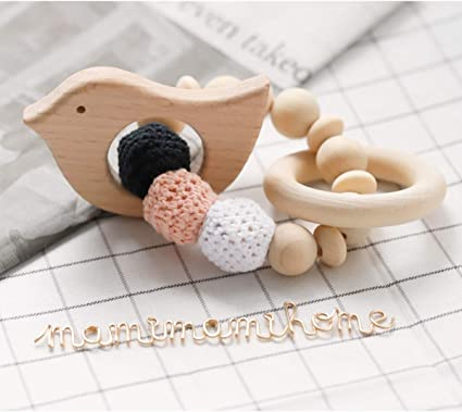 Wooden Natural Crochet Baby Teether Infant Teething Ring Bracelet Toys UK Wood