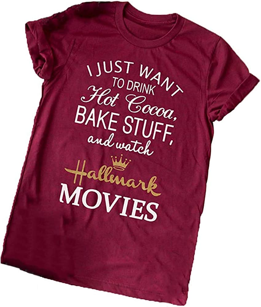 Christmas Movie Coffee T-Shirt Women Long Sleeve Novelty Graphics with Saying Funny and Cute Tee Tops