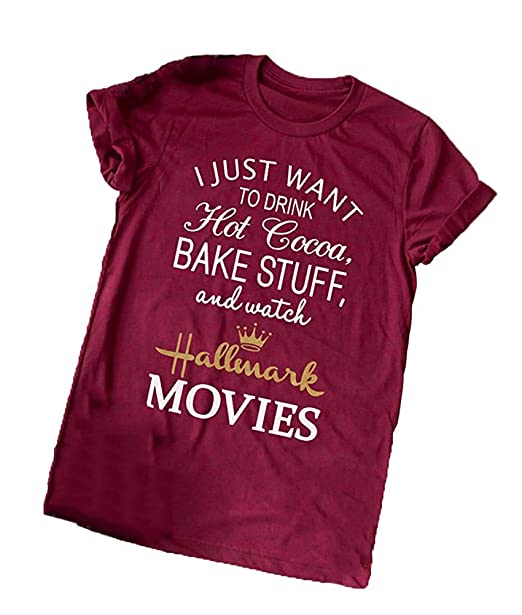 46152b8f Amazon.com: Enmeng Womens Christmas Movie Tees I Just Want to Watch  Hallmark Movies T-Shirt Graphic Tees: Clothing