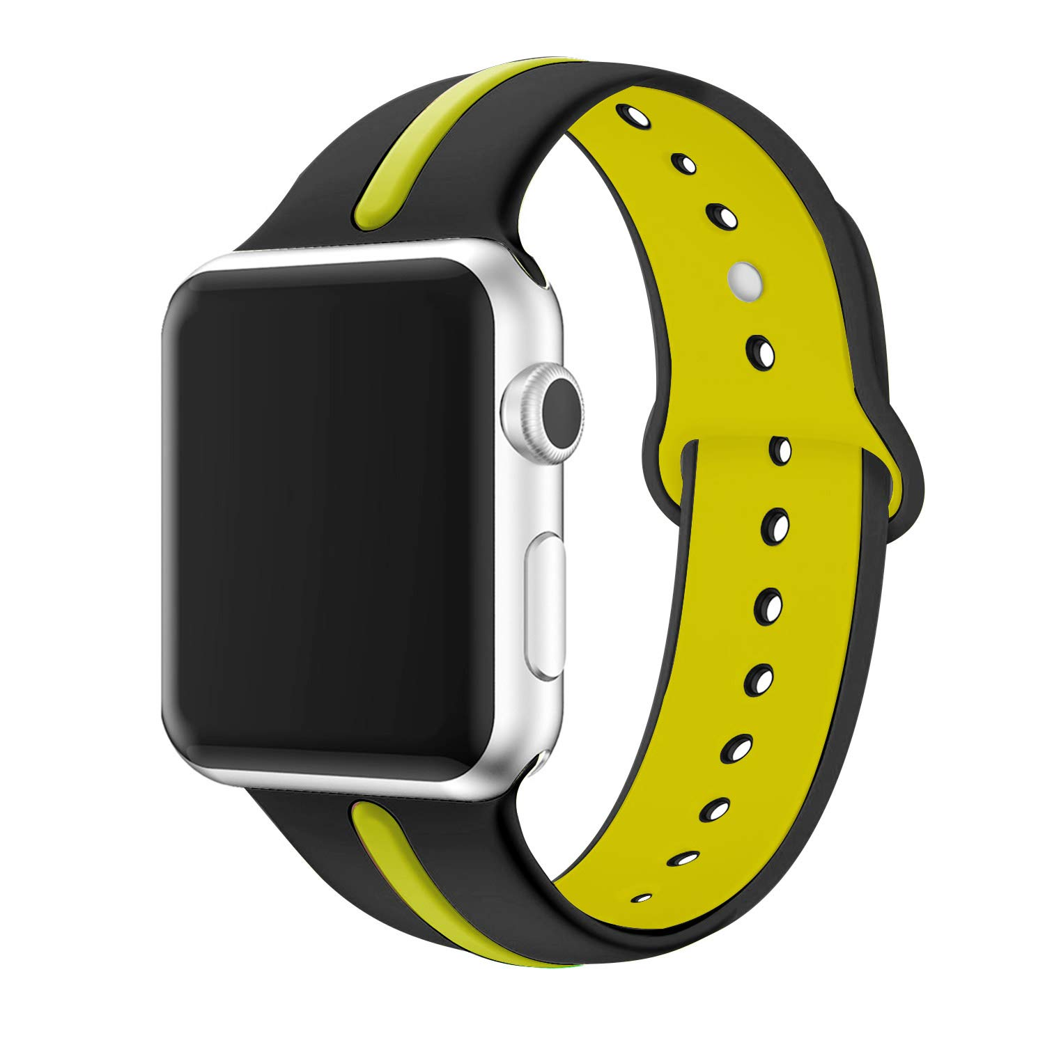 Kartice Compatible with Apple Watch Band 40mm 38mm Sport Soft Silicone iWatch Series 4 3 2 1 Replacement Strap Sport and Edition (Black/Yellow 38/40) by Kartice
