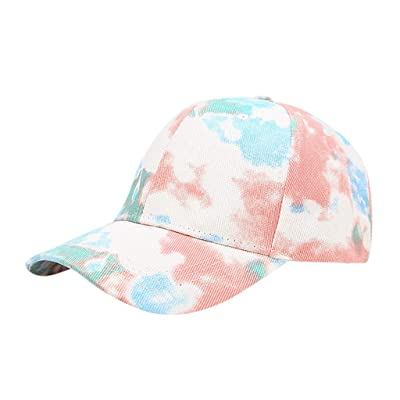 Sttech1 Womens Tie Dye Printed Baseball Cap Peaked Cap Sun Hat Sun Beach Hat White: Clothing