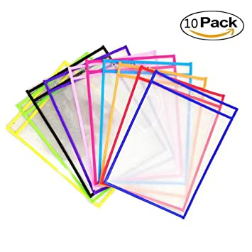 YIY - Paquete de 10 Fundas de borrado en seco para láminas de plástico Reutilizables de
