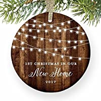 """Housewarming Gifts 2017, Dated 1st Christmas In Our New House Ornament New Home Rustic Xmas Farmhouse Collectible Homeowner Present Real Estate Agent 3"""" Flat Circle Porcelain Gold Ribbon Free Gift Box"""