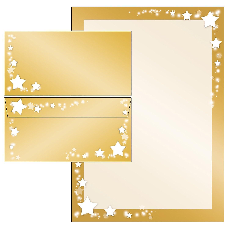 Natale stelle su cornice d' oro set cancelleria + Buste senza finestra 51161+ 61161 25 Blatt Briefpapier + 25 Kuverts Konzept-G 51165+61165