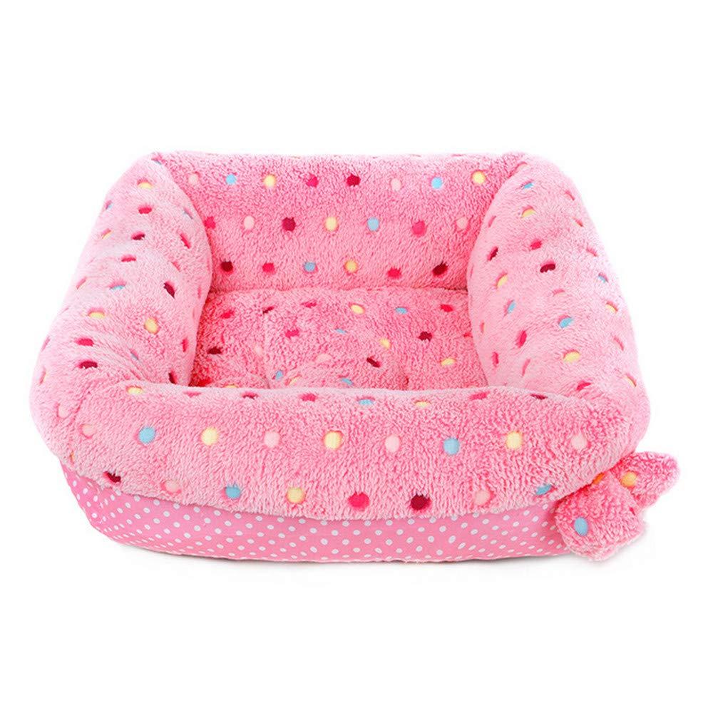 Wuwenw  Coral Fleece Pet Dog Bed Cat Divano Inverno Caldo Casa per Piccoli Cani di Media Taglia Dormire Mat, L