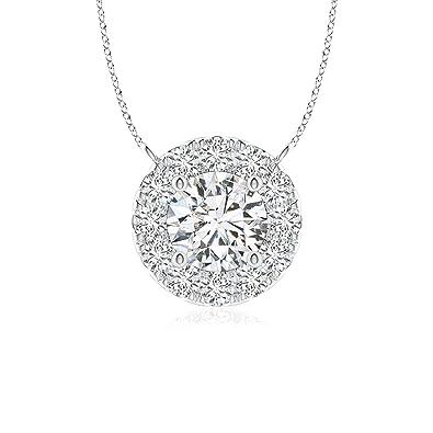 a34b4f1c8 Amazon.com: Round Diamond Necklace with Halo in Platinum (4.1mm ...
