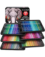Kalour Premium Colored Pencil Set for Adult coloring Book - Artists Professional Soft Core Drawing Pencils - Ideal for Sketching Shading Blending Crafting - Art Gift Tin Box for kids Beginners