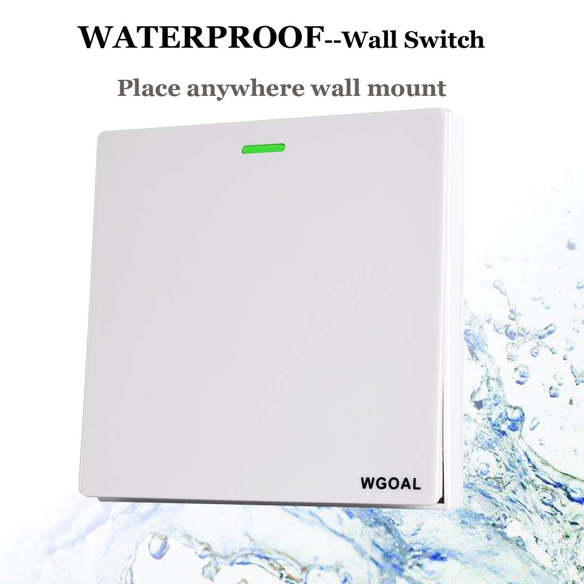 WGOAL Wireless Lights Switch Kit Waterproof Wireless Wall Switches for Lamps Fans Ceiling Light Appliances 1 Push Switch and 1 Receiver -1 Year Warranty No Battery No Wiring