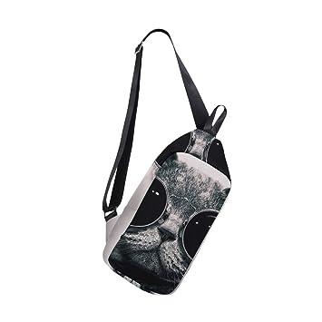 9646131ef873 Amazon.com | Cool Cat With Glasses Sling Bag Chest Shoulder Unbalance Gym  Fanny Backpack Daypack Rucksack | Casual Daypacks