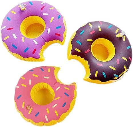 Donut hinchable flotadores de piscina portavasos portavasos para fiesta en la piscina Pack de 6: Amazon.es: Deportes y aire libre