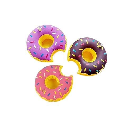 Donut hinchable flotadores de piscina portavasos portavasos para fiesta en la piscina Pack de 6