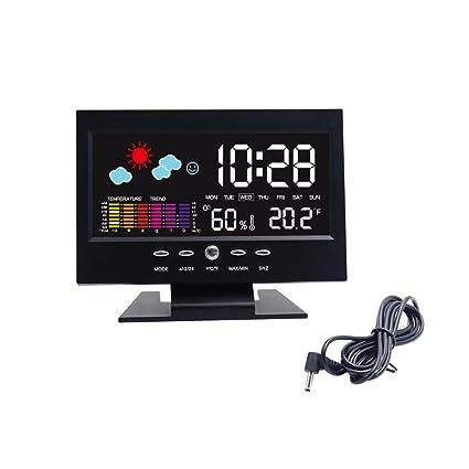 Hippih Mesa Electrónica Reloj digital LCD de la alarma Snooze reloj de cabecera Reloj de escritorio