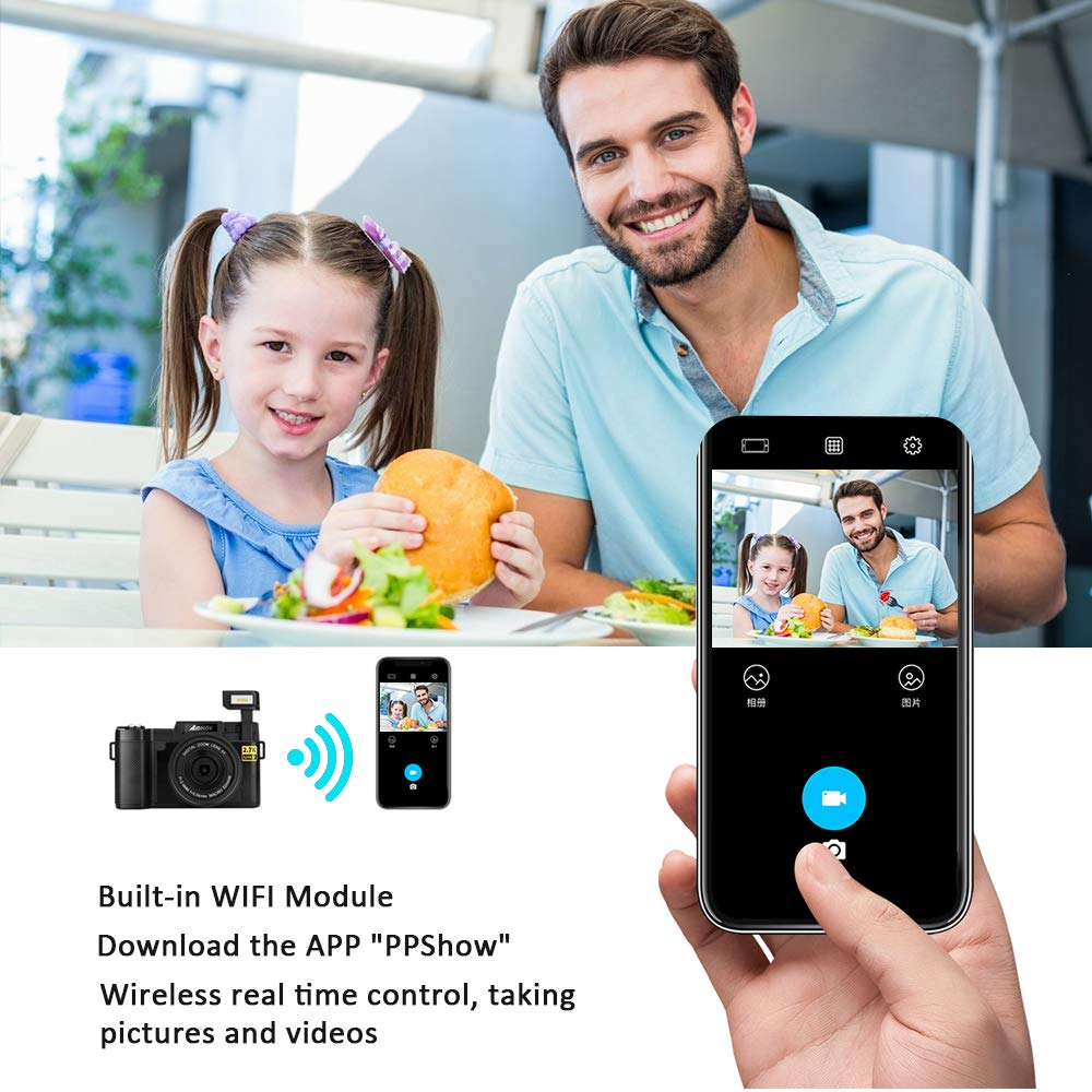 Digital Camera with WiFi 24MP 2.7K HD Video Camcorder 3.0 Inch Flip Screen Vlogging Camera with Flashlight 16GB SD Card and 2 Batteries