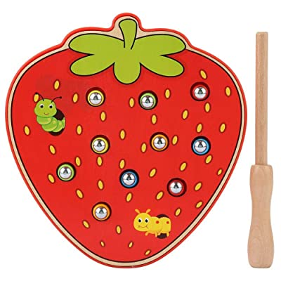 Baby Catching Games, Magnetic Desktop Fruit Shape Worms Trap Game Magnetic Toddler Toy Game Set Intellectual Learning Playset Interactive Board Game Toys for Toddlers Kids Birthday (Strawberry): Toys & Games