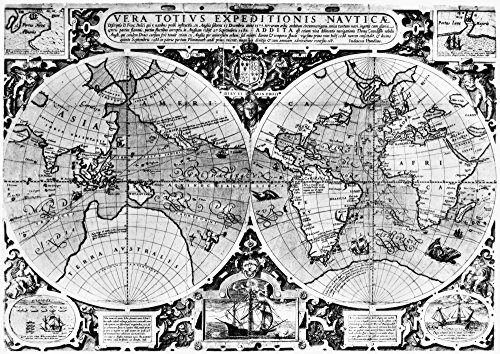 World Map 16Th Century Nmap Engraved By Jodocus Hondius Perhaps At London England About 1590 Showing The Track Of Sir Francis DrakeS Circumnavigation Of The Globe 1577-80 And That Of Thomas Cavendish