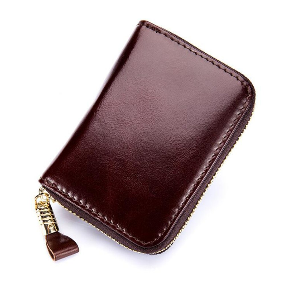 MeiliYH RFID Ladies Blocking Oil Wax Leather Zipper Wallet Credit Card Holder Card Bags Coin Purse for Women (Black)