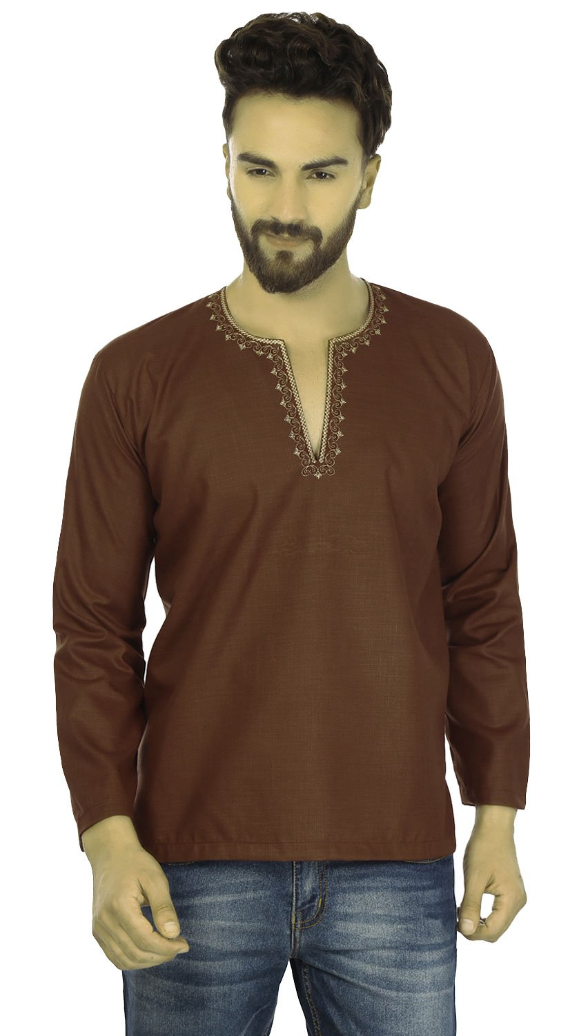Maple Clothing Embroidered Cotton Dress Mens Short Kurta Shirt India Fashion (Chocolate, M)