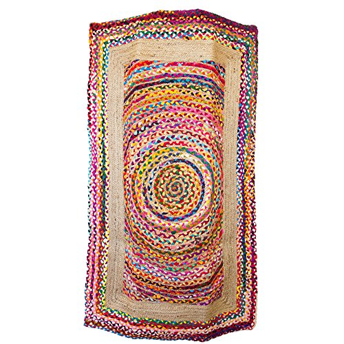 America & Beyond, LLC Hand Woven Jute Cotton 90 x 150 Rug, Assorted, One Size