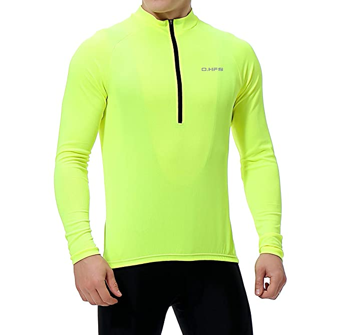 Men's Cycling Jersey, Long Sleeve Bicycle Bike Shirt, Reflective & Quick Dry