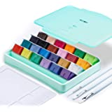 MIYA Gouache Paint Set, 24 Colors x 30ml Unique Jelly Cup Design with 3 Paint Brushes and a Palette in a Carrying Case Perfec