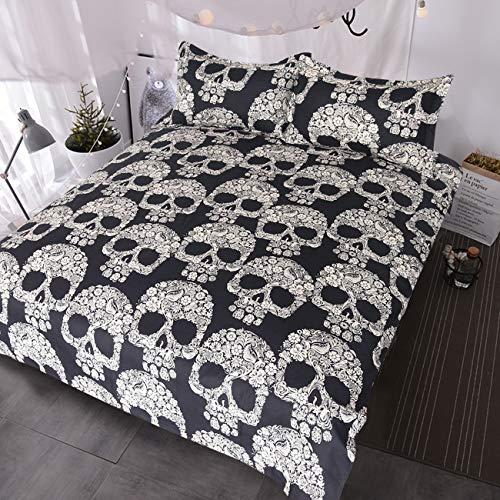 BlessLiving Sugar Skull Bedding Set 3 Piece Skull Flowers Roses Duvet Cover Black and White Skull Paradise Bed Sets (Full)