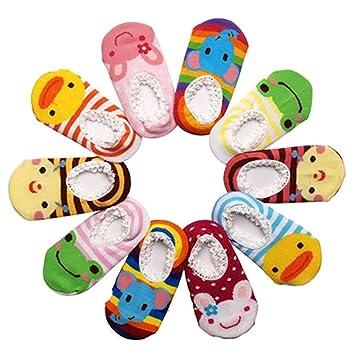 Happy Cherry 10 Pairs Baby Childrens Socks Slippers Antiskid Random Color