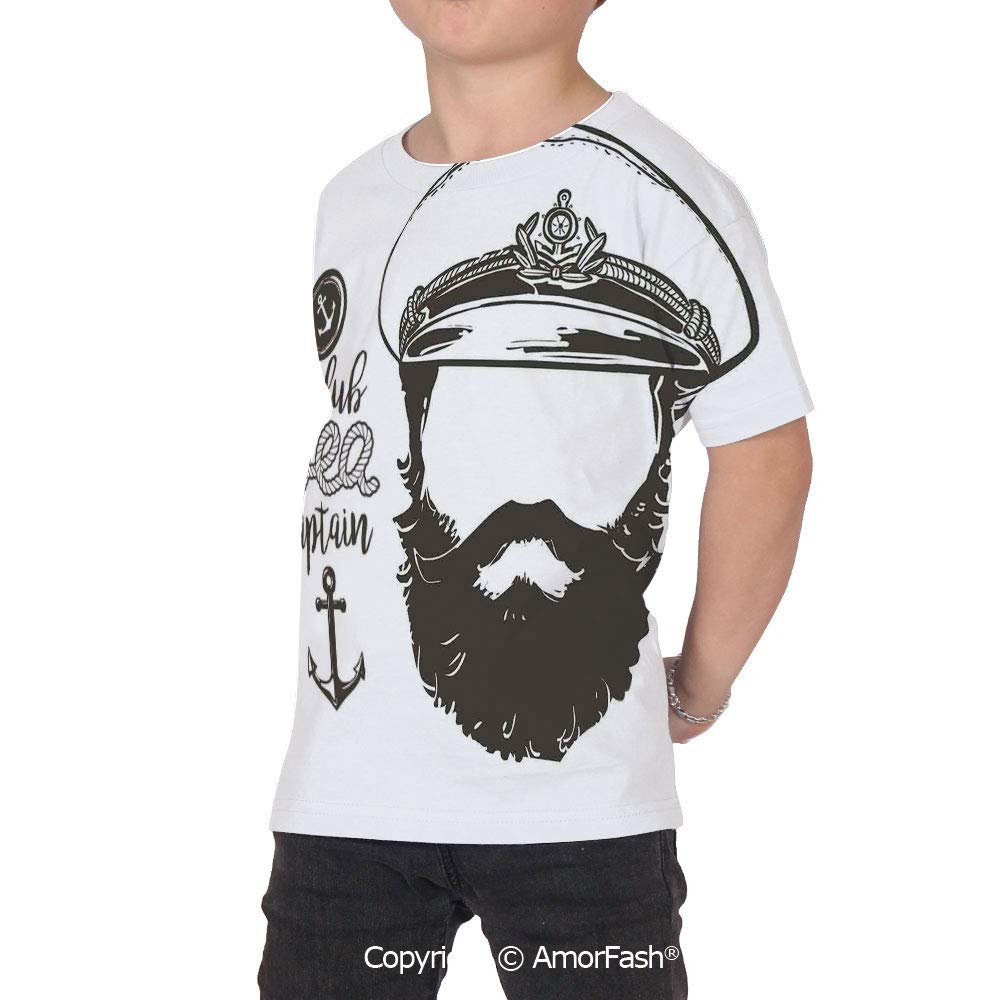 Anchor Decor Colorful Boys and Girls Soft Short Sleeve T-Shirt,Portrait of a Fac