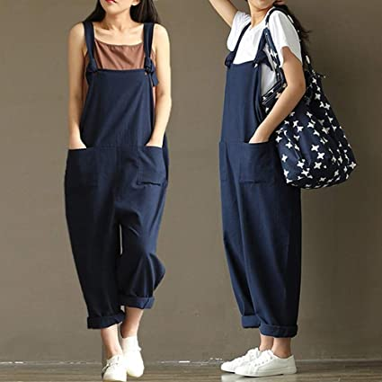 acef82d6895b Amazon.com  Women s Casual Jumpsuits Overalls Baggy Bib Pants Plus Size  Wide Leg Rompers  Clothing