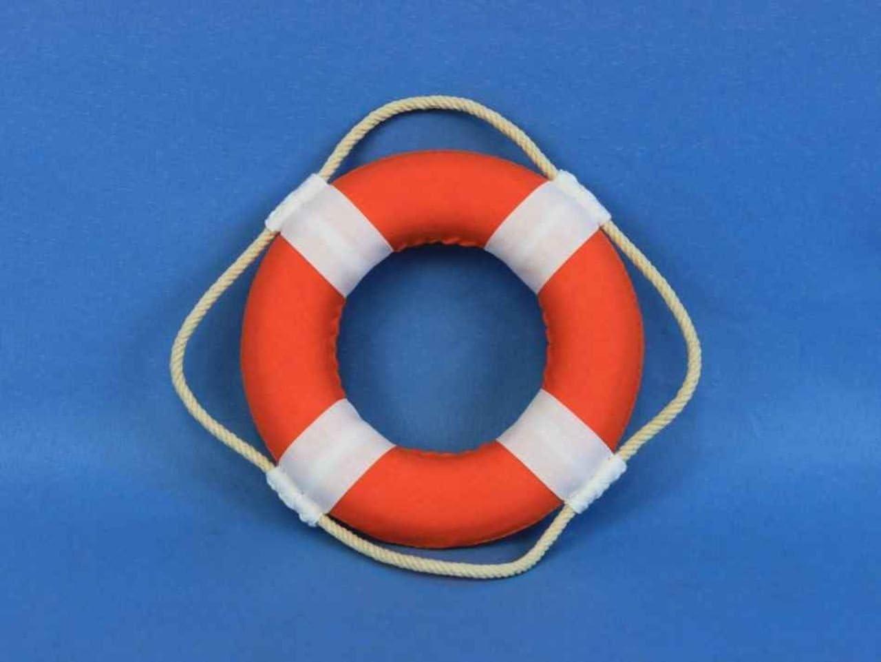 Orange//White 6 Hampton Nautical Vibrant with Bands Decorative Life Ring Beach Decorating Ideas Accessories