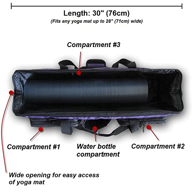 YogaAddict Yoga Mat Bolsa Gimnasio Bolsa Supreme con Bolsillo y Cremallera, 28 cm de Largo, Extra Grande, Ajuste más tamaño de Alfombrilla, ...