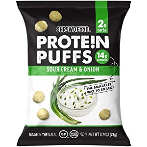 Shrewd Food Protein Puffs, Keto Friendly Snack, Low Carb Crunch, High Protein Crisp, Gluten Free, Soy Free, Peanut Free, 14g Protein - 2g Carbs Per Serving, Sour Cream and Onion, 8 Pack