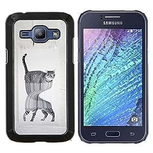 TECHCASE---Cubierta de la caja de protección para la piel dura ** Samsung Galaxy J1 J100 ** --gato en espejo fuuny