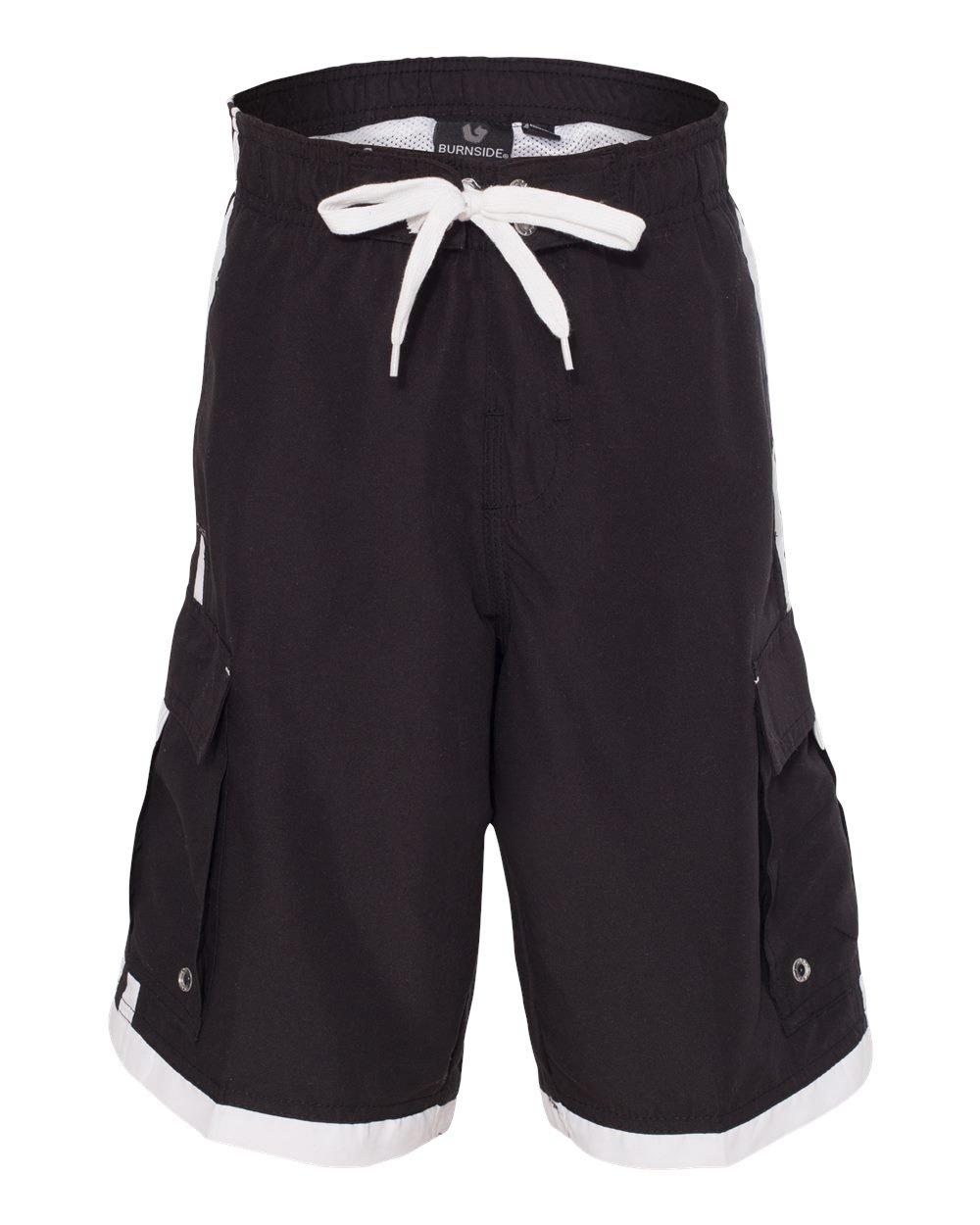 Burnside Boy's 4401 Youth Striped Board Shorts Swim Trunks (Small, Black/White)