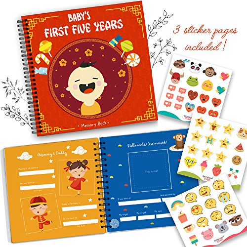 Chinese Album Cover (Chinese Baby's First Year Memory Book With Stickers - Hardcover Newborn Babies 1st Year Journal And Baby Milestones Photo Album - Perfect and Unique Gift Idea for Baby Showers or Birthday Presents)