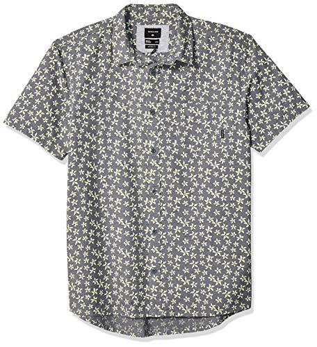 Quiksilver Men's Minimal Flower Short Sleeve Woven TOP, Quiet Shade, - Short Top Mens Sleeve Woven