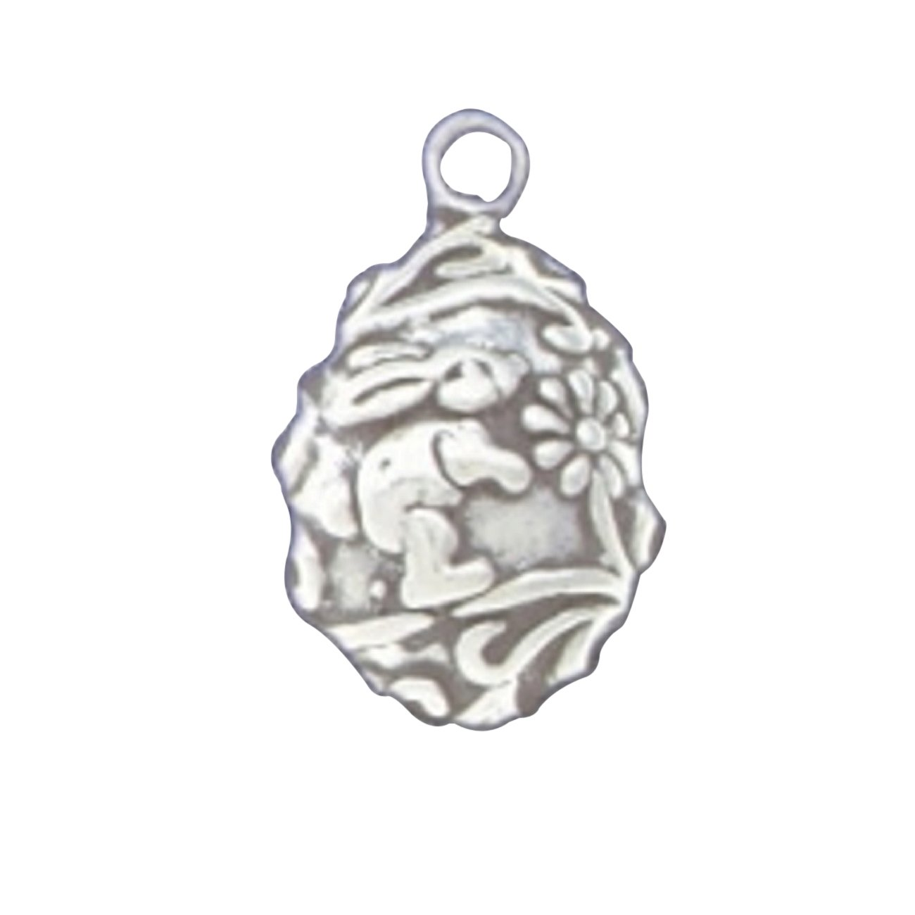 Sterling Silver Womens 1mm Partial 3D Easter Egg Pendant Necklace With Bunny Rabbit And Flowers