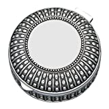 Creative Gifts 3'' Beaded Antique Round Box, Silver Plated.
