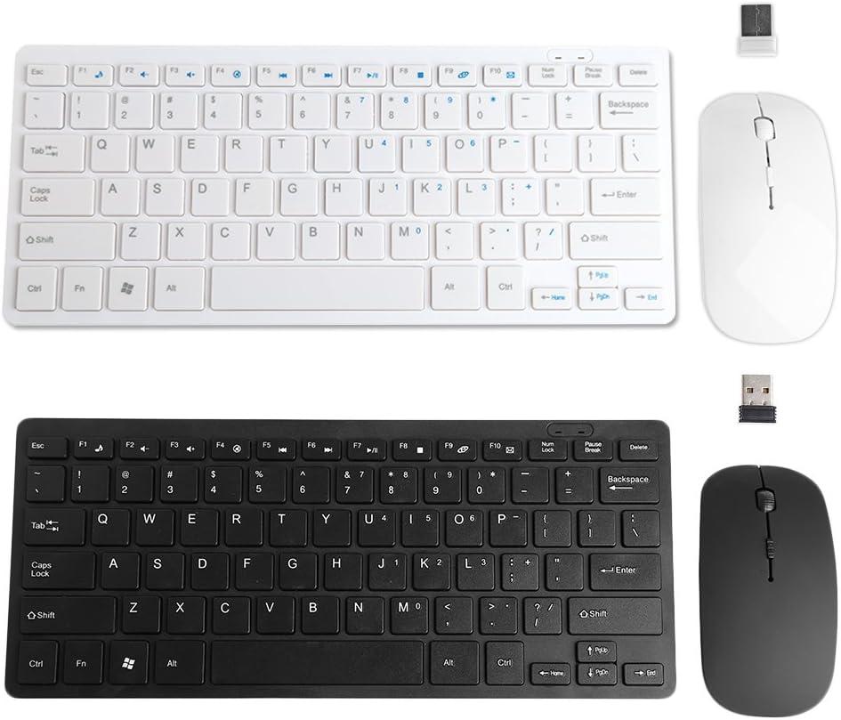 2 Colors Optional ForHe Mini Ultra Slim Wireless 2.4GHz Keyboard Mouse Combo Set for Desktops Laptops