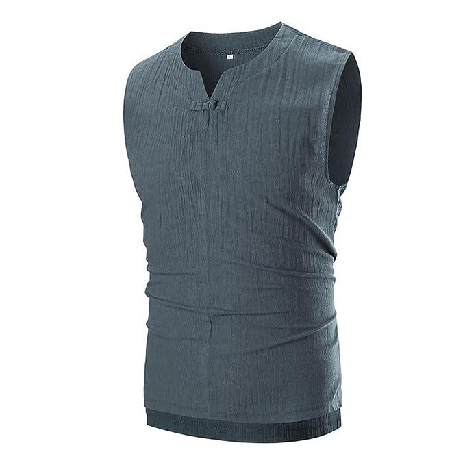 Camiseta para Hombre, Camiseta sin Mangas con Cuello en V y Cuello Redondo sin Mangas para Hombre: Amazon.es: Ropa y accesorios