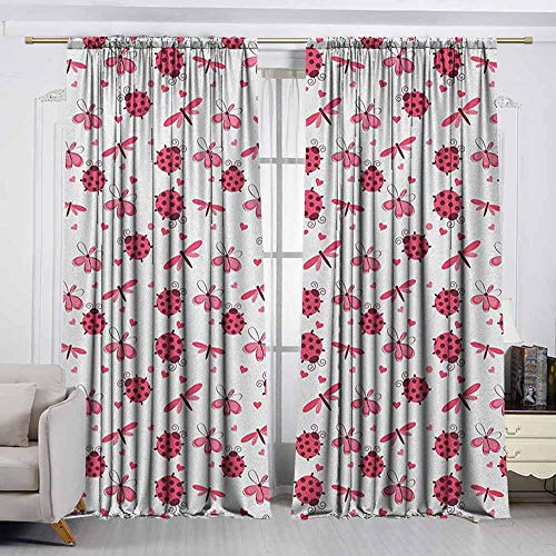 VIVIDX Exterior/Outside Curtains,Ladybugs,Domed Back Round Ladybugs with Hearts Flowers Dragonflies Romantic Wings Pattern,Waterproof Patio Door Panel,W55x39L Inches Red ()